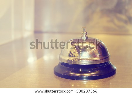 Service bell at the restaurant with vintage background
