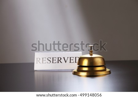 Service bell on reception table