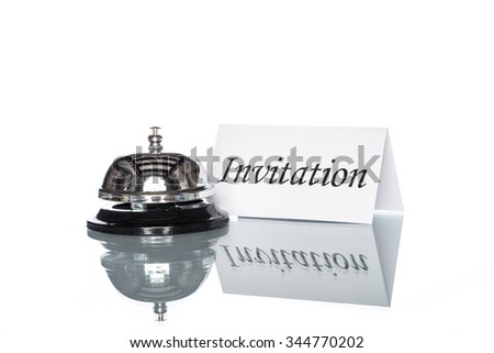 Service bell on the Check in desk with white background