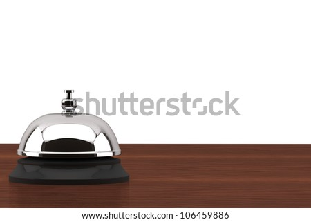 Service bell ring on the wooden desk