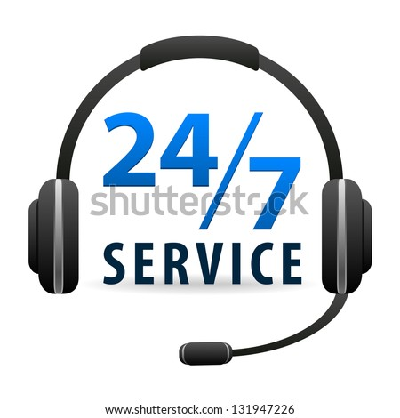 Service Call center - around the clock or 24 hours a day icon isolated on white background - stock photo
