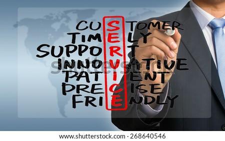 service crossword concept handwritten by businessman - stock photo