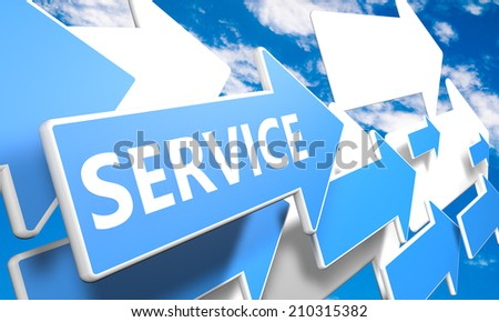 Service 3d render concept with blue and white arrows flying in a blue sky with clouds - stock photo