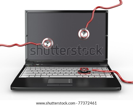 Service for laptop repair. Laptop with stethoscope. 3d - stock photo
