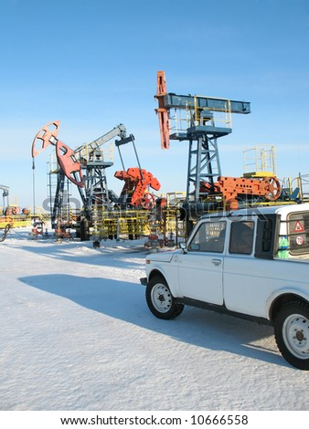 Service in oil industry. West Siberia. - stock photo