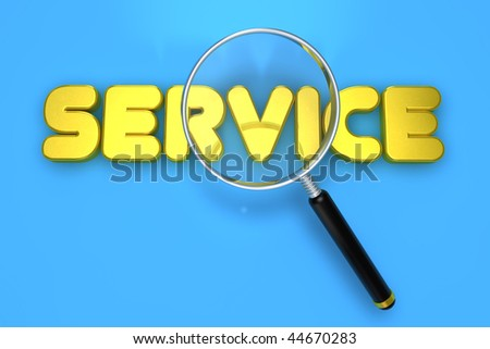 Service letter with magnifying glass - stock photo