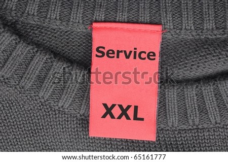 service on fashion tag or label showing support concept