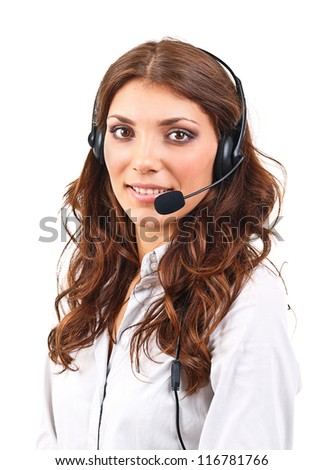 Service operator woman with headset, isolated on white background. - stock photo