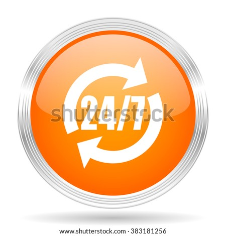service orange silver metallic chrome web circle glossy icon