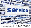 Service poster design. Development assistance message background - stock photo