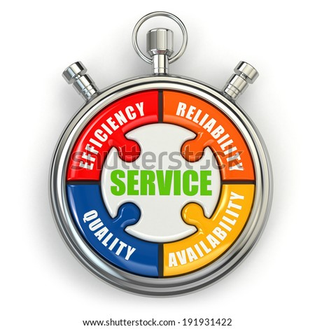 Service puzzle on white background. Conceptual three-dimensional image. - stock photo