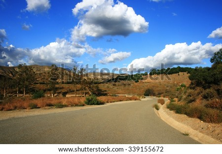Service road at Orchard Hills, Irvine, CA - stock photo