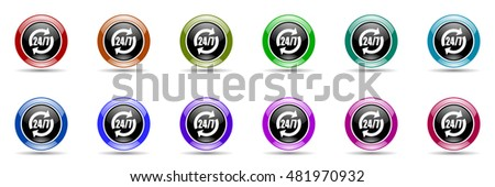 service round glossy colorful web icon set