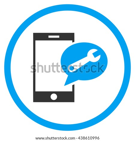 Service SMS glyph bicolor icon. Image style is a flat icon symbol inside a circle, blue and gray colors, white background. - stock photo