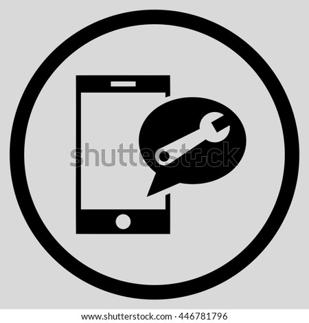 Service SMS glyph icon. Image style is a flat icon symbol inside a circle, black color, light gray background. - stock photo