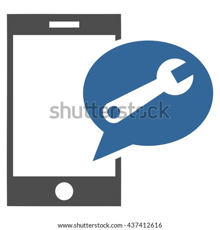 Service SMS glyph icon. Style is bicolor flat icon symbol, cobalt and gray colors, white background. - stock photo