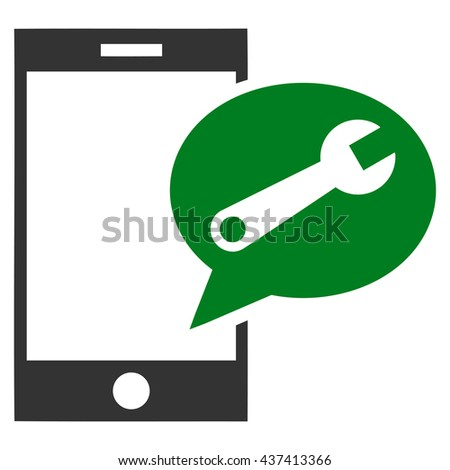 Service SMS glyph icon. Style is bicolor flat icon symbol, green and gray colors, white background. - stock photo