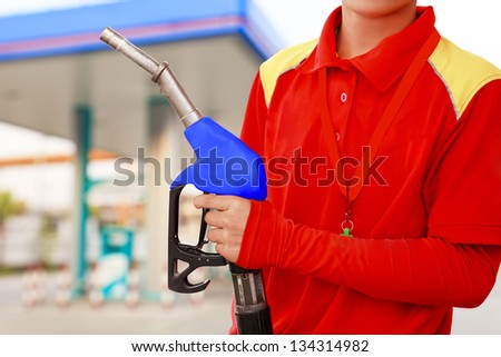 Service station worker - stock photo