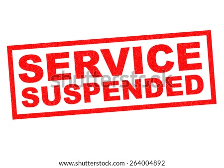 SERVICE SUSPENDED red Rubber Stamp over a white background. - stock photo