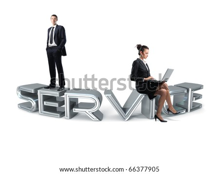 service team on 3d chrome text - stock photo