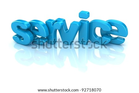 service text 3d isolated over white background - stock photo