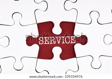 Service Text on Puzzle on the Place of Red Missing Pieces Background - customer and finance concept - stock photo