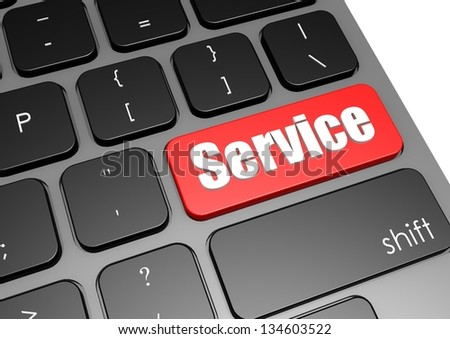 Service with black keyboard - stock photo
