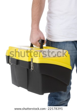 serviceman holding a toolbox - stock photo