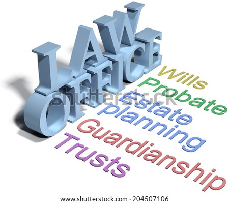 Services of estate planning attorney wills trusts probate - stock photo