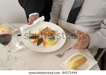 Serving a plate of salmon steak with vegetables