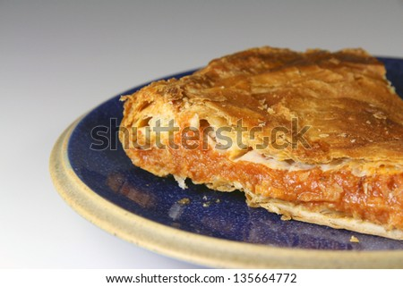 Serving dish with a typical pie Galicia