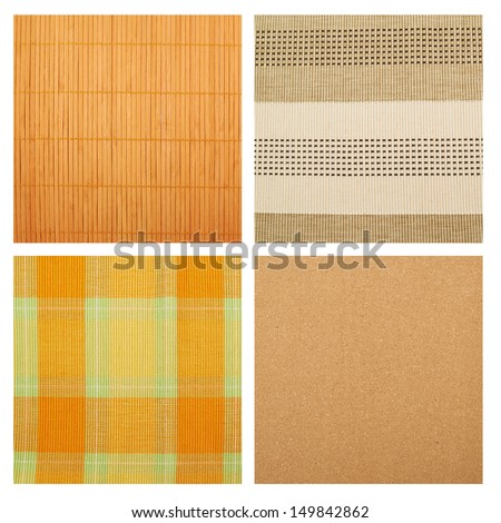 Serving mat texture as abstract background composition, top view above, set of four versions