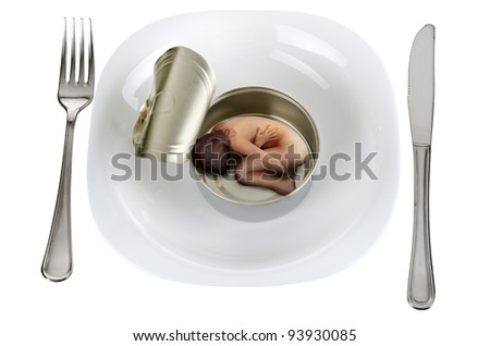 serving naked woman to an empty tin can - stock photo