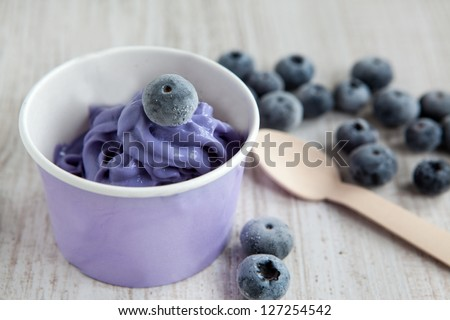 Serving of frozen creamy ice yoghurt  with whole fresh blueberries and wooden spoon - stock photo