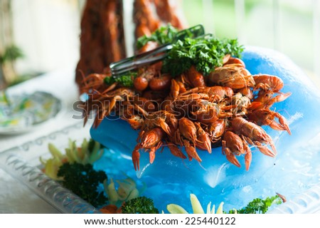 Serving of red crayfish - stock photo