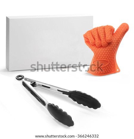 serving tongs isolated on a white background - stock photo
