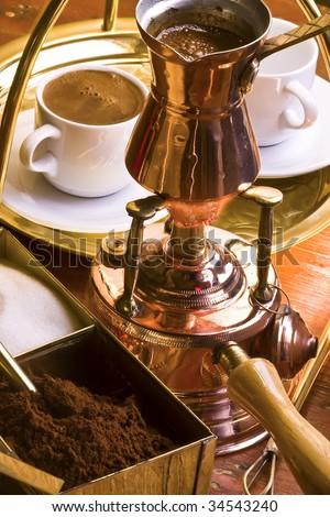 Serving Turkish coffee. - stock photo