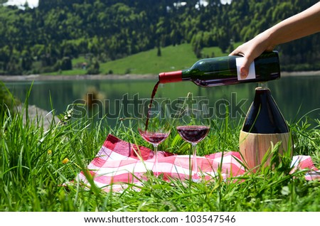 Serving wine for a picnic - stock photo
