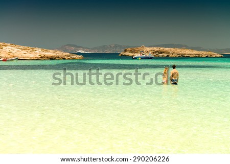Ses Illetes Beach in Formentera, Spain. - stock photo
