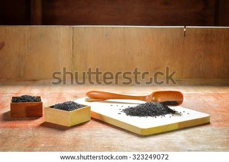 Sesame black. Vintage selective focus.   - stock photo