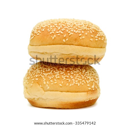 sesame buns on white background