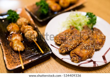 Sesame chicken wing and grilled meat