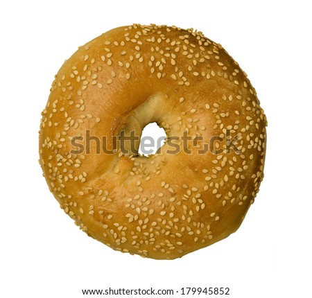 Sesame Seed Bagel isolated against white background - stock photo