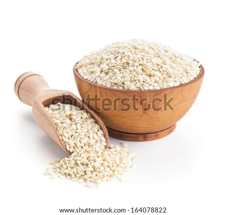 sesame seeds isolated on white background - stock photo