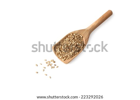 Sesame seeds on wooden scoop - isolated on white - stock photo