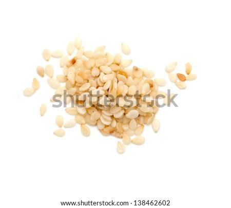 sesame seeds over white - stock photo