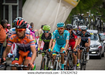 Sestriere, Italy 30 May  2015; Group of Professional Cyclists tackles the last climb before arrival of  a stage of the Tour of Italy 2015. Hard stage mountain from San Vincent to Sestriere.
