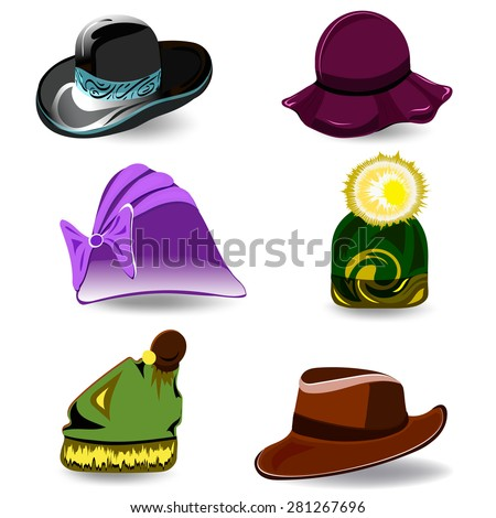 Set a variety of hats for women and men. Colorful cartoon style.  illustration