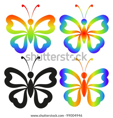 Set abstract butterflies, coloured and black contour silhouettes on white background - stock photo