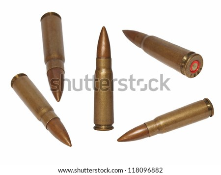 Set  ak-47 bullet,  isolated on white background with clipping path - stock photo